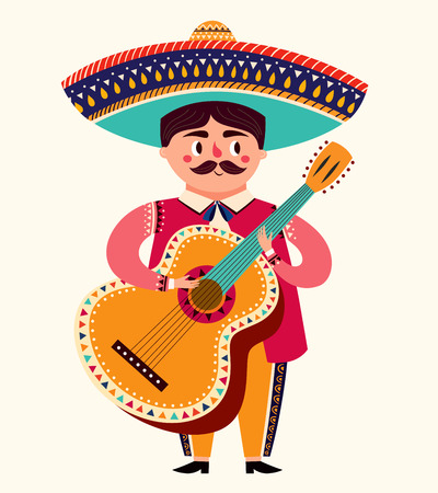 Mexican man with guitar for Cinco De Mayo celebration. Illustration
