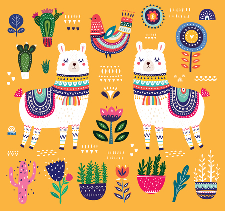 Big colorful vector illustration with llama, flowers, bird and ethnic design elements Ilustração