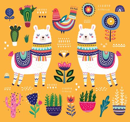 Big colorful vector illustration with llama, flowers, bird and ethnic design elements Illustration