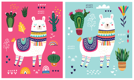 Big colorful vector illustration with llama, flowers and ethnic design elements Ilustração