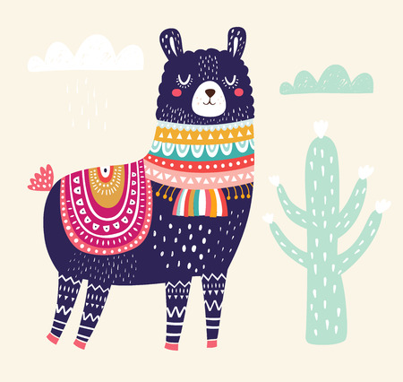 Vector illustration with Llama Illustration
