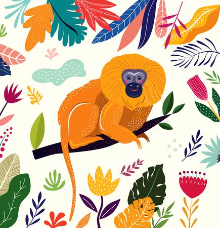 Cartoon vector illustration with funny cute monkey Foto de archivo - 105814880