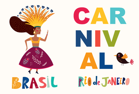 Brazil Carnival. Vector illustration with brazilian dancing girl. Foto de archivo - 105814881