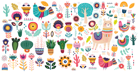 Big vector collection with cute llama, cacti and flowers.