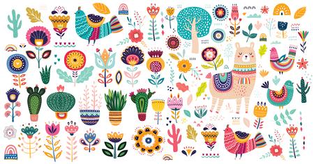 Große Vektorsammlung mit niedlichem Lama, Kakteen und Blumen.