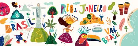 Rio de Janeiro, Brasil. Ilustración de vector con símbolos e iconos de Brasil