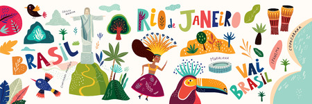 Rio De Janeiro Brazil. Vector illustration with Symbols and icons of Brazil Vettoriali
