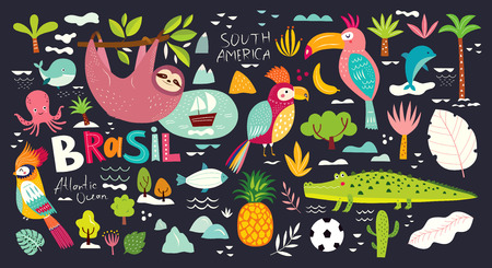 Vector illustration with Symbols of Brazil Foto de archivo - 105814884