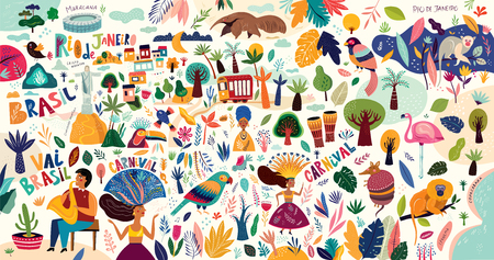 Rio De Janeiro Brazil vector illustration. Symbols and icons of Brazil