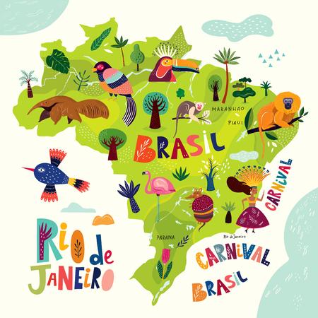 Mapa de vectores de Brasil. Símbolos e iconos brasileños. Ilustración de vector