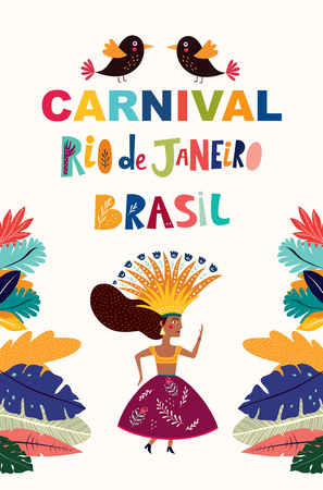 Brazil Carnival. Vector illustration with brazilian dancing girl. Foto de archivo - 105815527