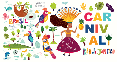 Vector illustration with symbols of Brazil. Brazil Carnival illustration Foto de archivo - 105815528