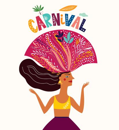 Brazil Carnival. Vector illustration with brazilian dancing girl. Foto de archivo - 105815529