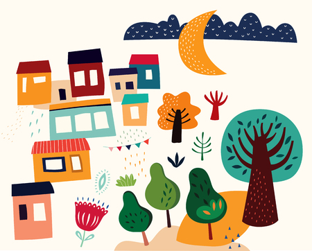 Vector cartoon illustration with houses and trees Foto de archivo - 105815530