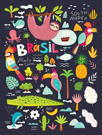 Vector illustration with Symbols of Brazil Foto de archivo - 105815531