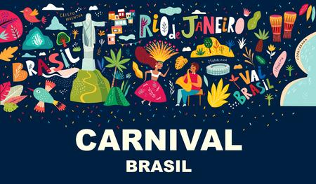 Rio De Janeiro Brazil. Vector illustration with Symbols and icons of Brazil Foto de archivo - 105815532