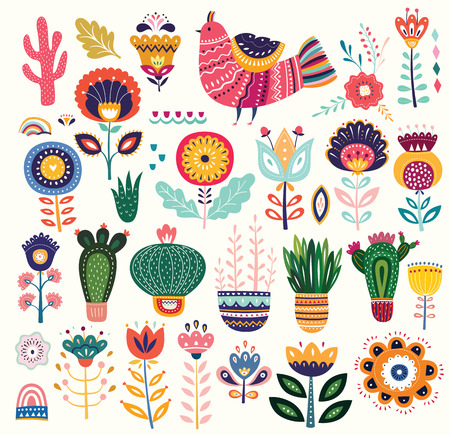 Big colorful vector collection with flowers, cacti, bird and ethnic design elements Foto de archivo - 105815533