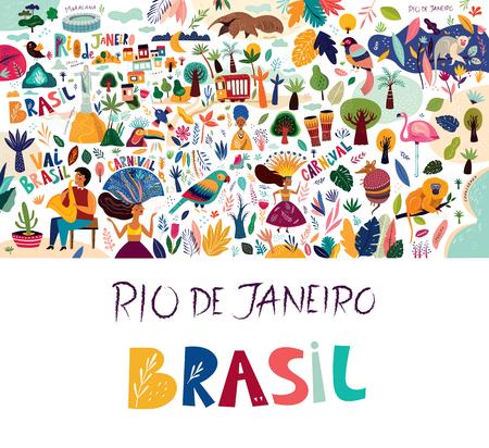 Ilustracja wektorowa Brazylia Rio De Janeiro. Symbole i ikony Brazylii