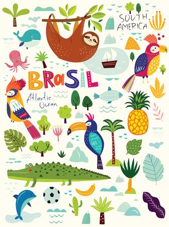 Vector illustration with Symbols of Brazil Illustration