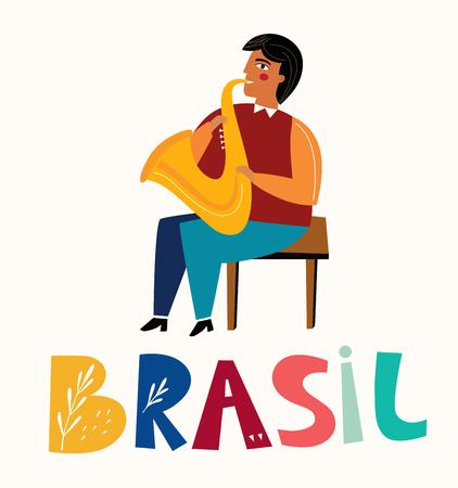 Saxophone player. Brazil traditional musician men. Jazz festival poster