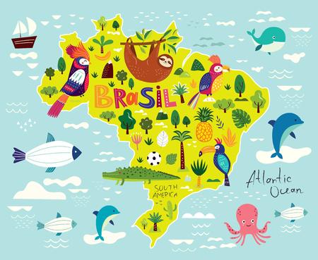 Ilustración de vector con mapa de Brasil. Símbolos de Brasil