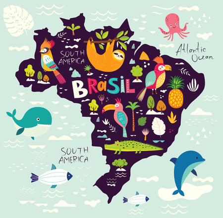 Vector illustration with map of Brazil. Symbols of Brazil Foto de archivo - 105815542