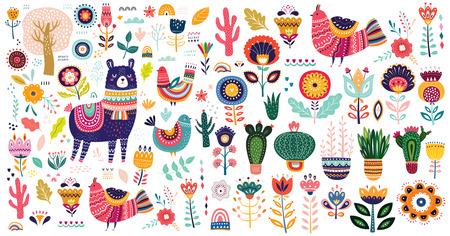 Duża kolekcja wektorów z ładną lamą, kaktusami i kwiatami.