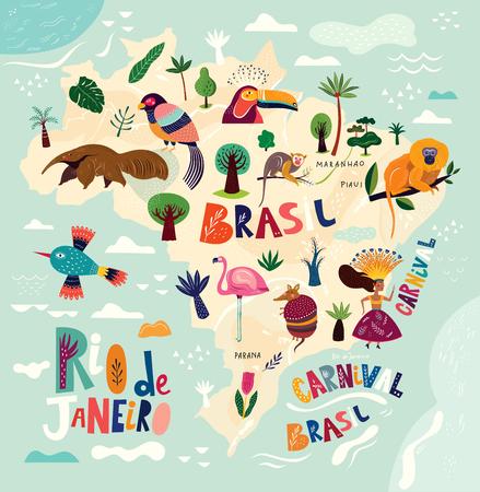 Vector map of Brazil. Brazilian symbols and icons. Illustration