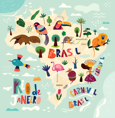 Vector map of Brazil. Brazilian symbols and icons. Ilustracja
