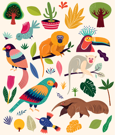 Vector collection of tropical animals Stock Illustratie
