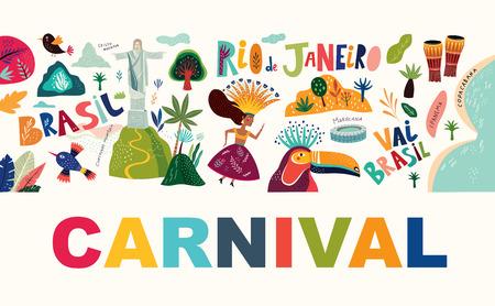 Brazil Carnival template. Vector illustration Foto de archivo - 105816612