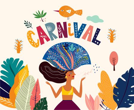 Brasilien Karneval. Vektorillustration mit brasilianischem tanzendem Mädchen