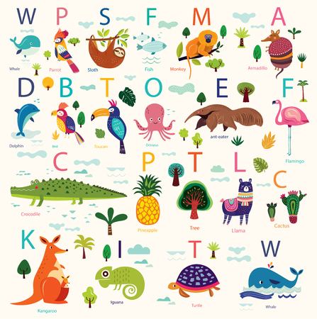 Vector poster with cute animals. Play cards for kids. Decorative funny animals in alphabet. Cartoon design for stickers, wall decals, cards and any nursery decor Illustration
