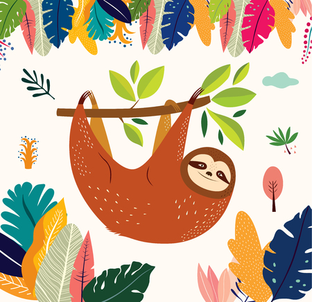 Cartoon vector illustration with funny cute sloth Ilustração