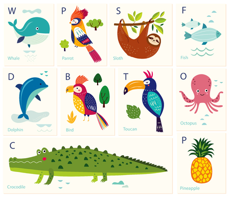 Vector cards with alphabet animals. Play cards for kids. Decorative funny animals in alphabet Foto de archivo - 105816619