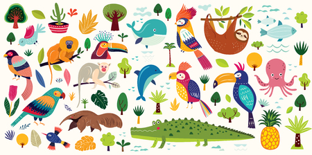 Vector poster with cute animals. Cards for kids. Decorative funny animals. Cartoon design for stickers, wall decals, cards and any nursery decor