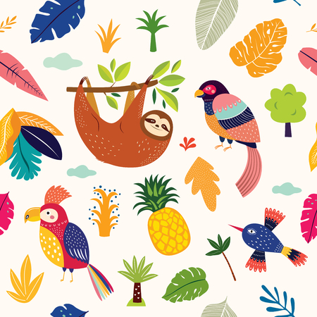 Seamless pattern with cute sloth, parrot and tropical leaves Foto de archivo - 105816622