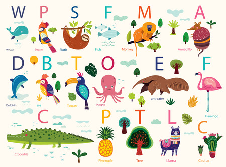 Vector poster with cute animals. Play cards for kids. Decorative funny animals in alphabet. Cartoon design for stickers, wall decals, cards and any nursery decor Standard-Bild - 105816623