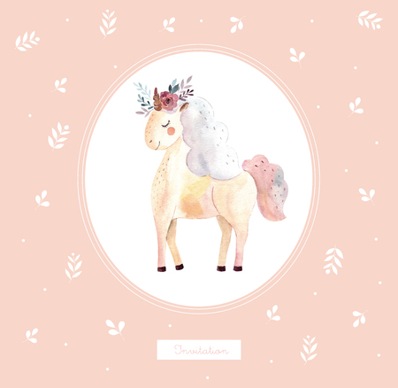 Vintage illustration with cute unicorn Foto de archivo - 105782053