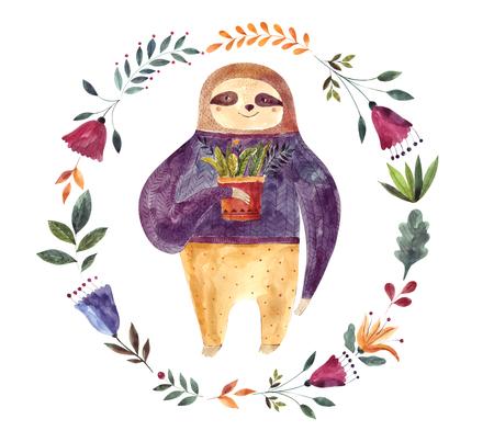 Watercolor illustration with cute sloth Foto de archivo - 105782054