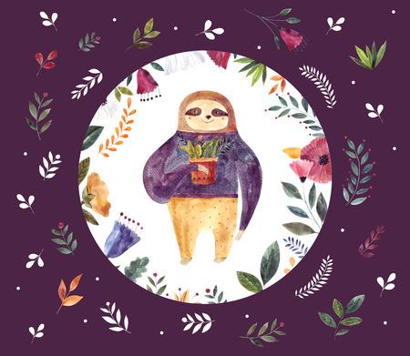 Watercolor illustration with cute sloth Foto de archivo - 105781909