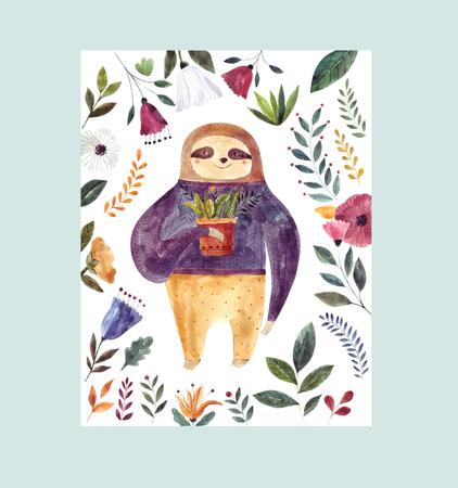 Watercolor illustration with cute sloth Foto de archivo - 105781910