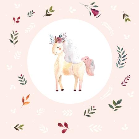 Vintage illustration with cute unicorn Foto de archivo - 105781911