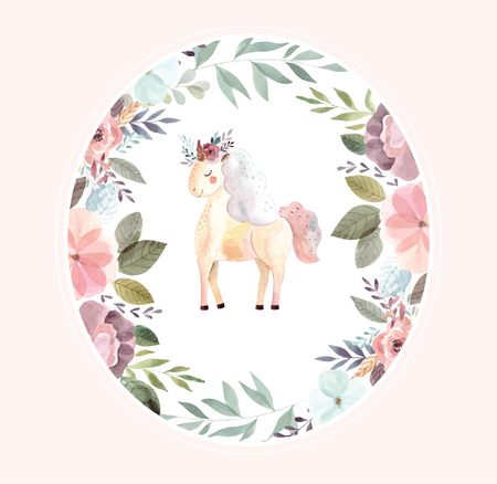 Vintage illustration with cute unicorn Foto de archivo - 105781913