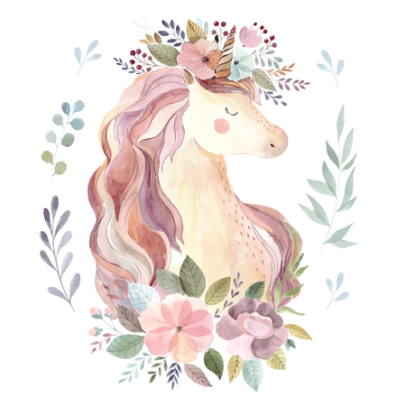 Vintage illustration with cute unicorn Foto de archivo - 105781914