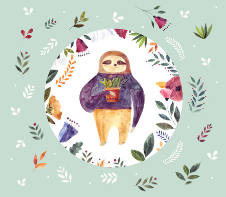 Watercolor illustration with cute sloth Foto de archivo - 105781915