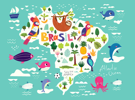 Vector illustration with map of Brazil. Symbols of Brazil