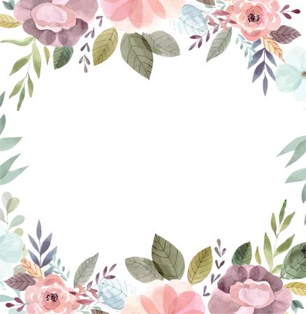Watercolor illustration with floral wreath Foto de archivo - 105781917
