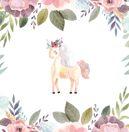 Vintage illustration with cute unicorn Vettoriali