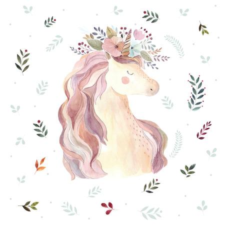 Vintage illustration with cute unicorn Foto de archivo - 105781919